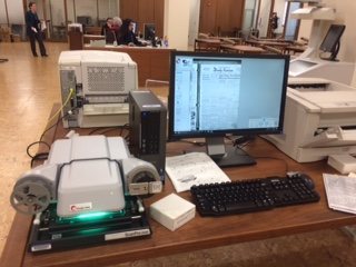 Photograph of the microfilm reader in the Reading Room