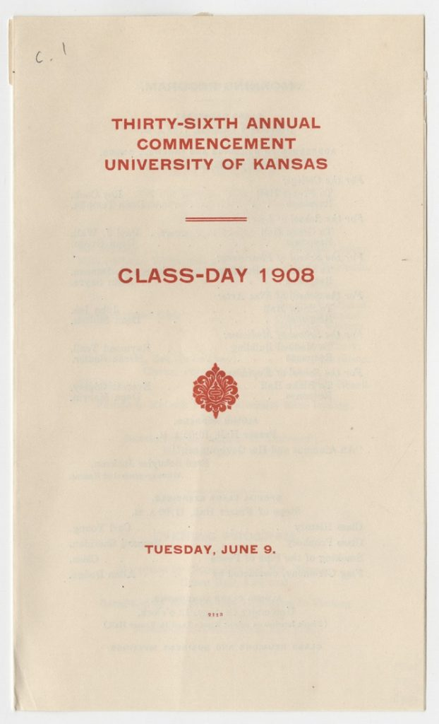 Image of the schedule of Class Day events, 1908
