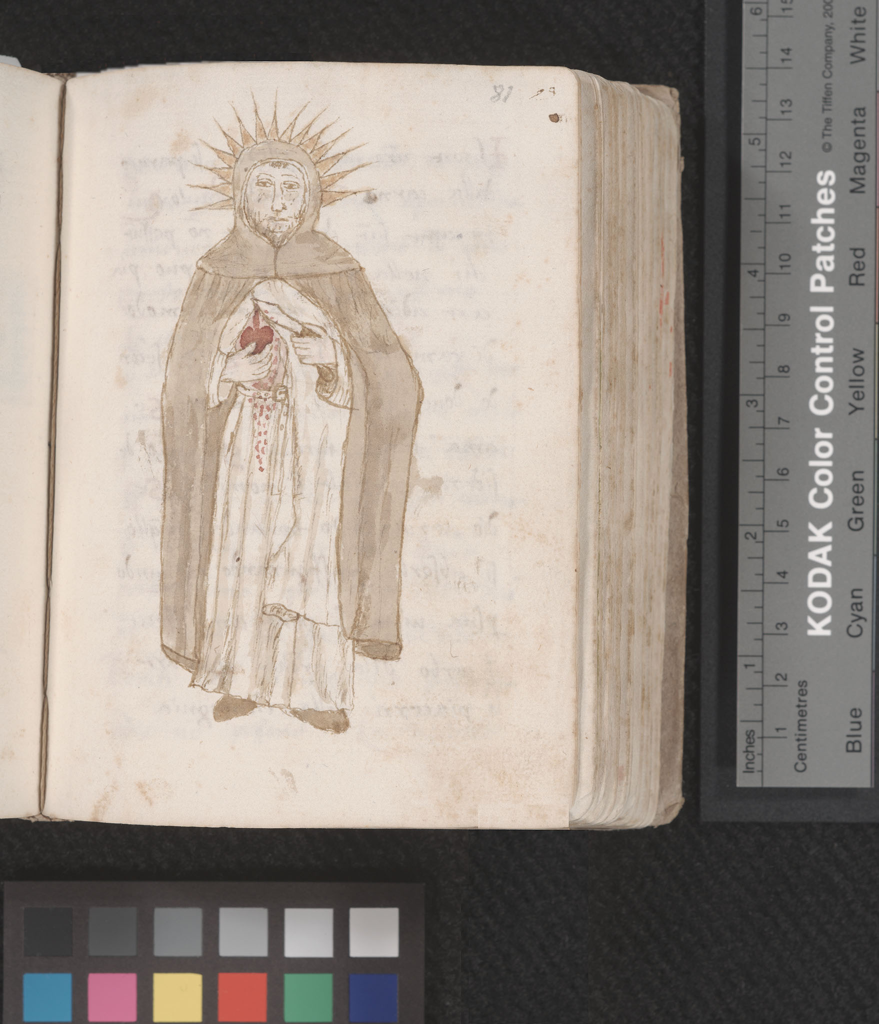 MS A7, Prediche sul nome di Gesu, image of monk revealing/cutting his heart, f.81r