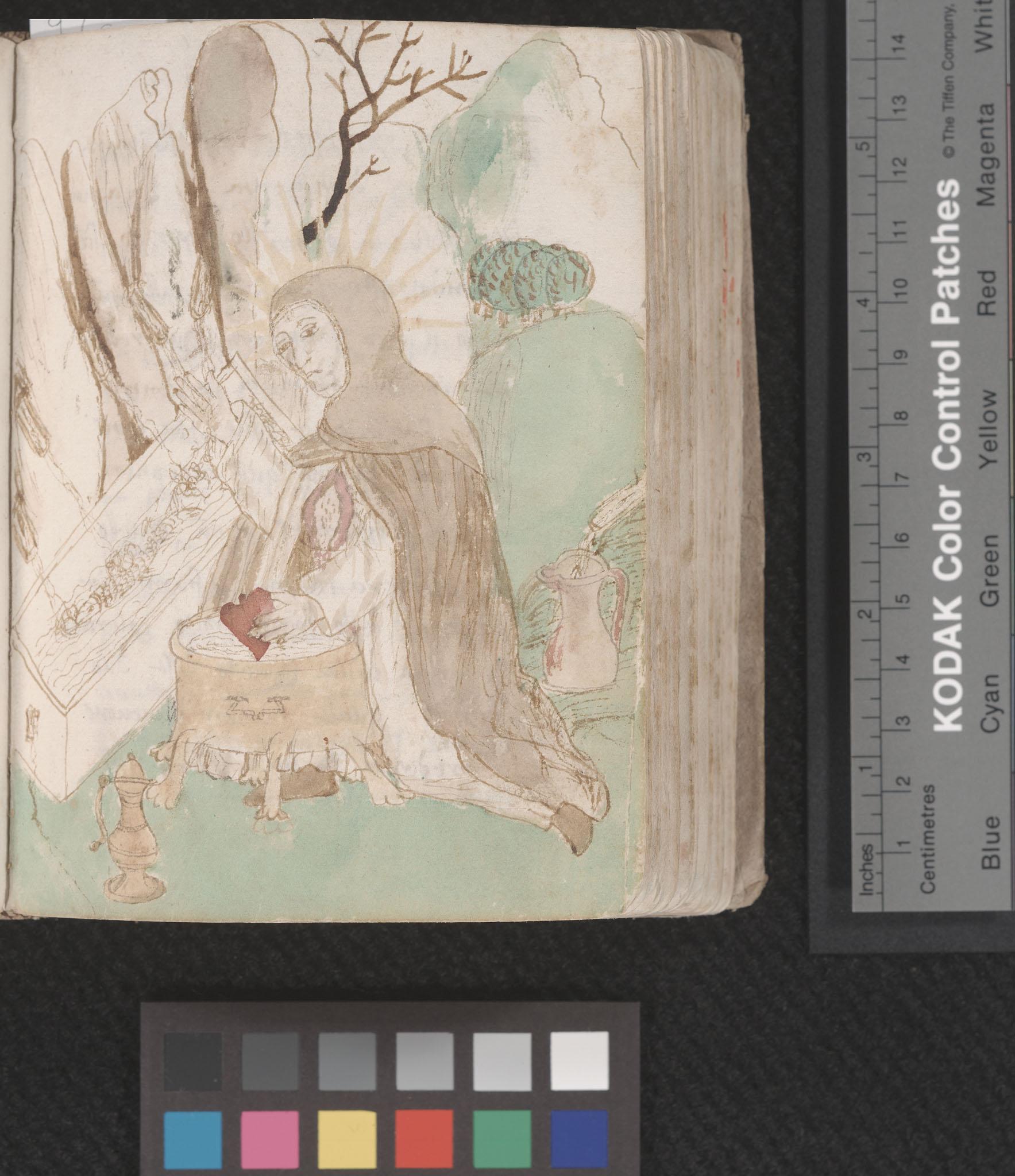 MS A7, Prediche sul nome di Gesu, image of monk washing his heart, f.88r