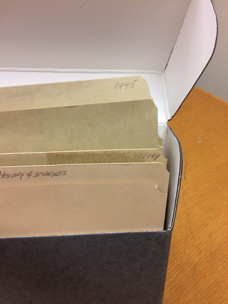 Photograph of folders in the Danforth Chapel building file