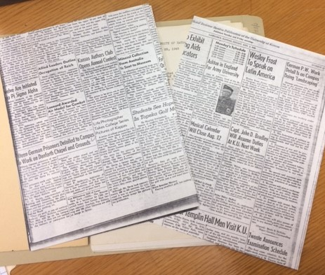 Photograph of newspaper articles in the Danforth Chapel building file