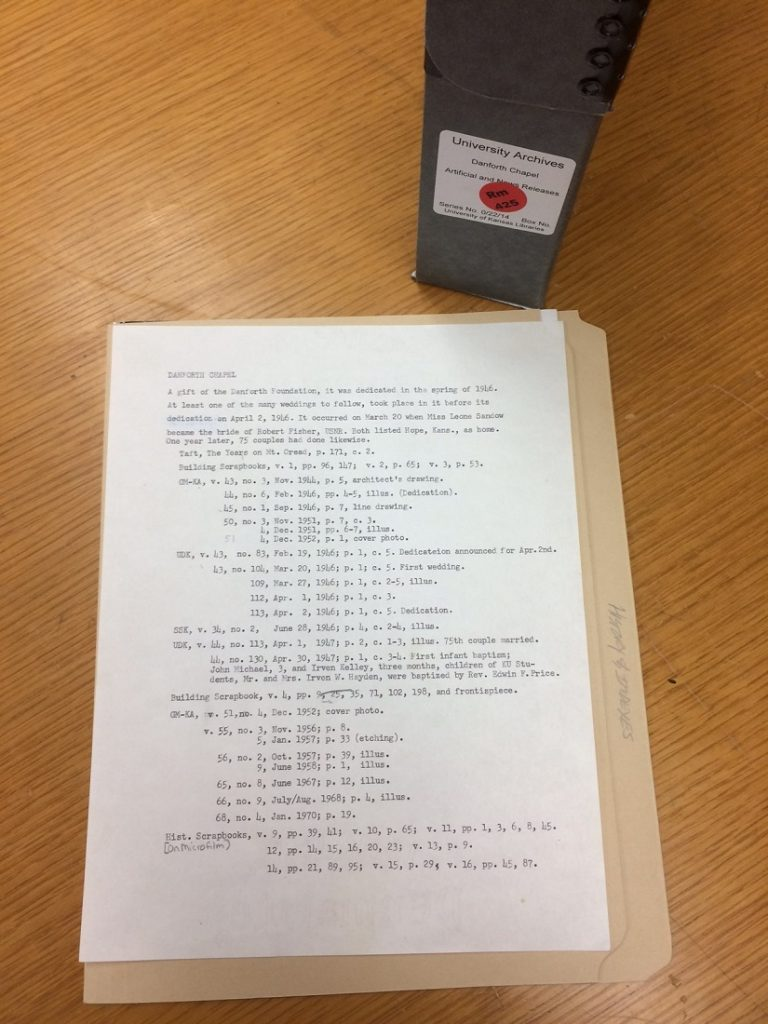 Photograph of materials in the Danforth Chapel building file