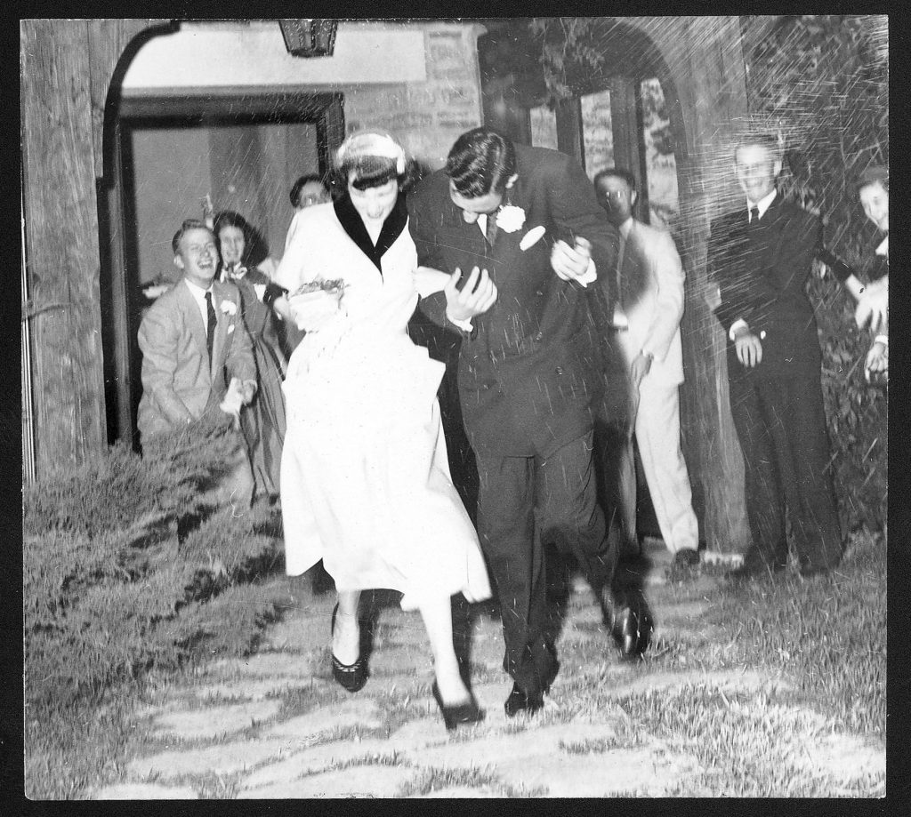 Photograph of a a wedding at Danforth Chapel, circa 1953