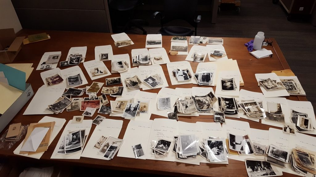 Photograph of the Jane Wofford Malin Collection being processed, 2018