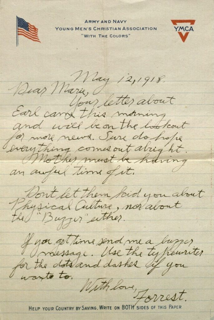 Image of Forrest W. Bassett's letter to Ava Marie Shaw, May 12, 1918