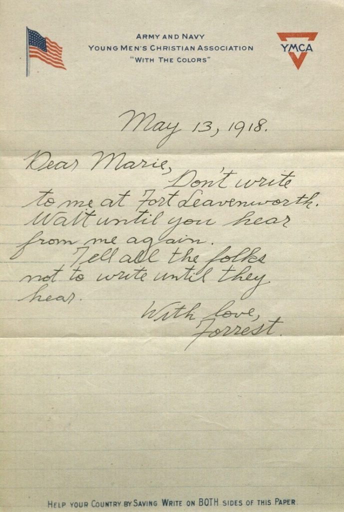 Image of Forrest W. Bassett's letter to Ava Marie Shaw, May 13, 1918