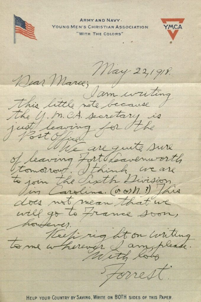 Image of Forrest W. Bassett's letter to Ava Marie Shaw, May 22, 1918