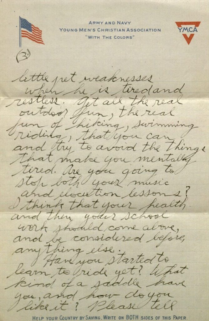 Image of Forrest W. Bassett's letter to Ava Marie Shaw, May 27, 1918