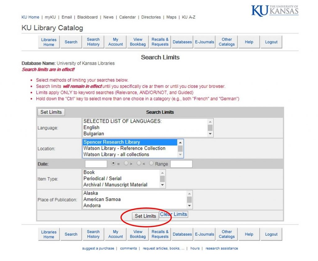 Screenshot of the search limits page in the KU Libraries online catalog