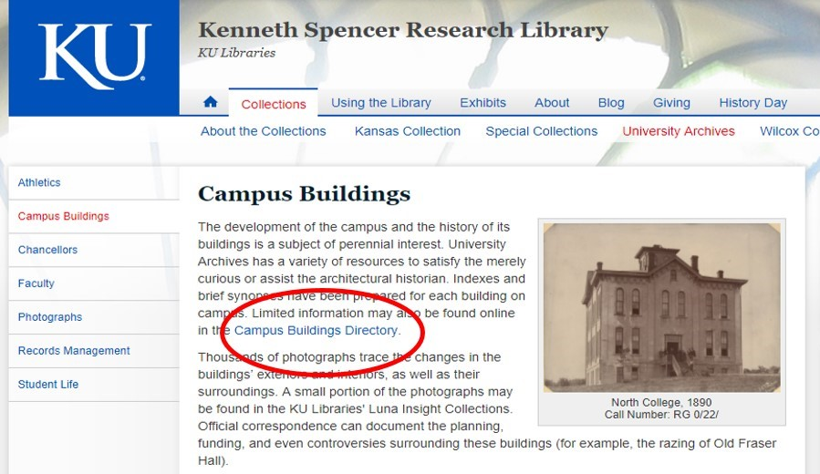 Screenshot of the Campus Buildings page on the Spencer Research Library website