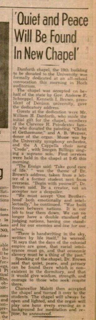 Image of a Daily Kansan article about the dedication of Danforth Chapel, April 2 1946