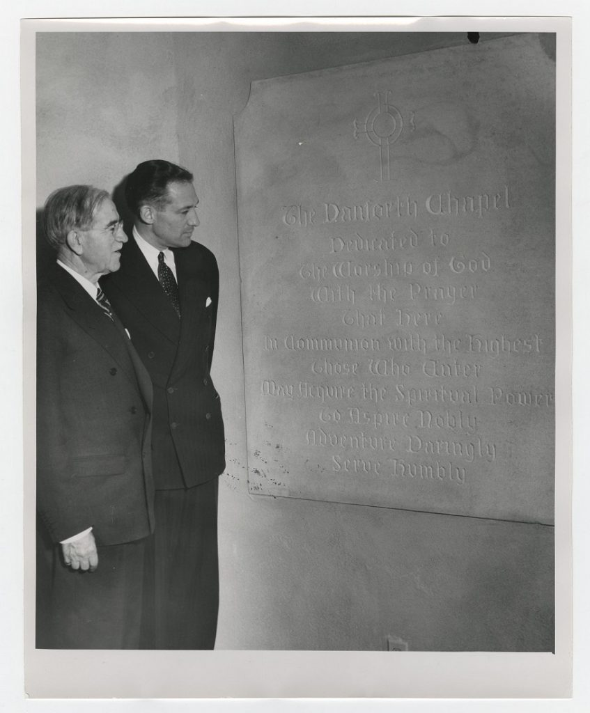 Photograph of William H. Danforth and Chancellor Deane W. Malott at the Danforth Chapel dedication, 1946