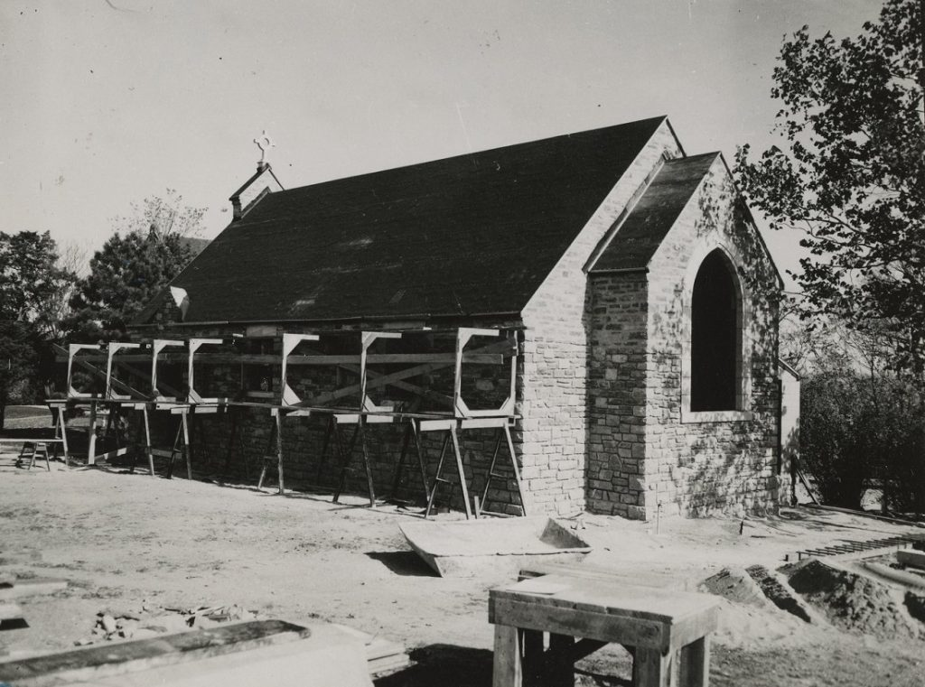 Photograph of Danforth Chapel under construction, 1942