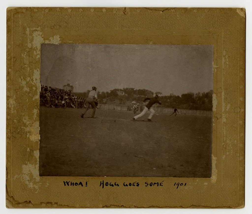 Photograph of a KU baseball player running to a base, 1900-1901