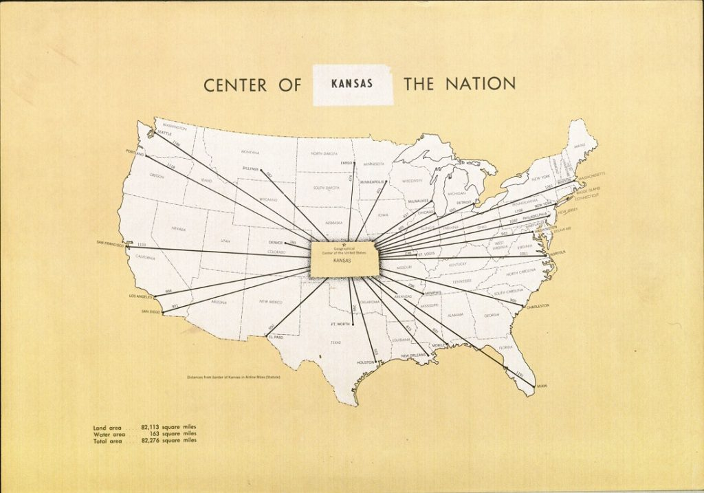 "Image of the ""center of the nation"" map in A Kansas Atlas, 1952"