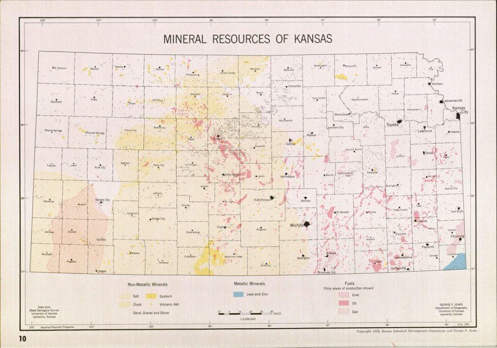 Image of a map of Kansas mineral resources in A Kansas Atlas, 1952