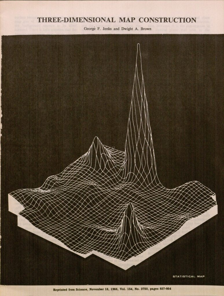 "Image of a three-dimensional ""smoothed statistical surface"" map in the article Three-Dimensional Map Construction, 1966"