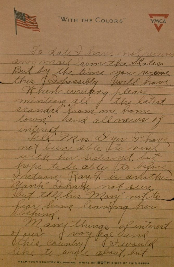 Image of Milo H. Main's letter to his family, June 2, 1918