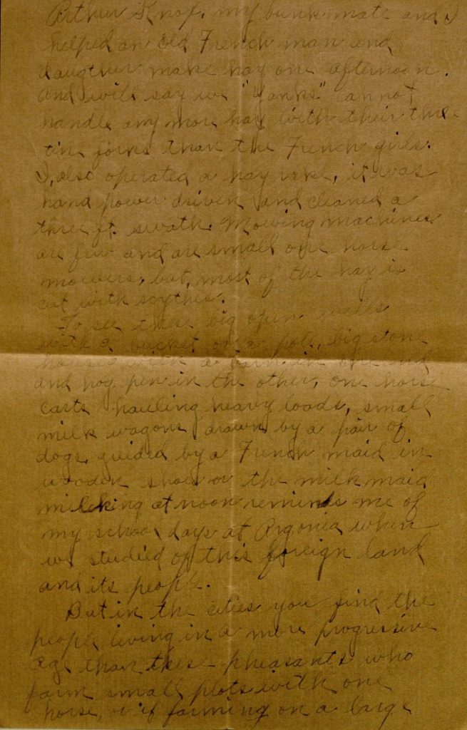 Image of Milo H. Main's letter to his family, June 14, 1918
