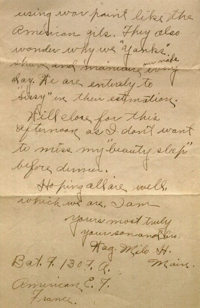 Image of Milo H. Main's letter to his family, July 7, 1918