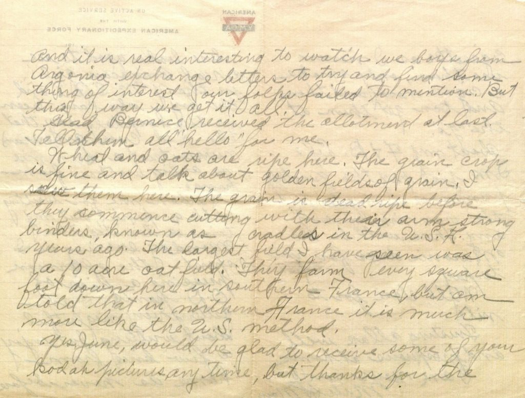 Image of Milo H. Main's letter to his family, July 15, 1918