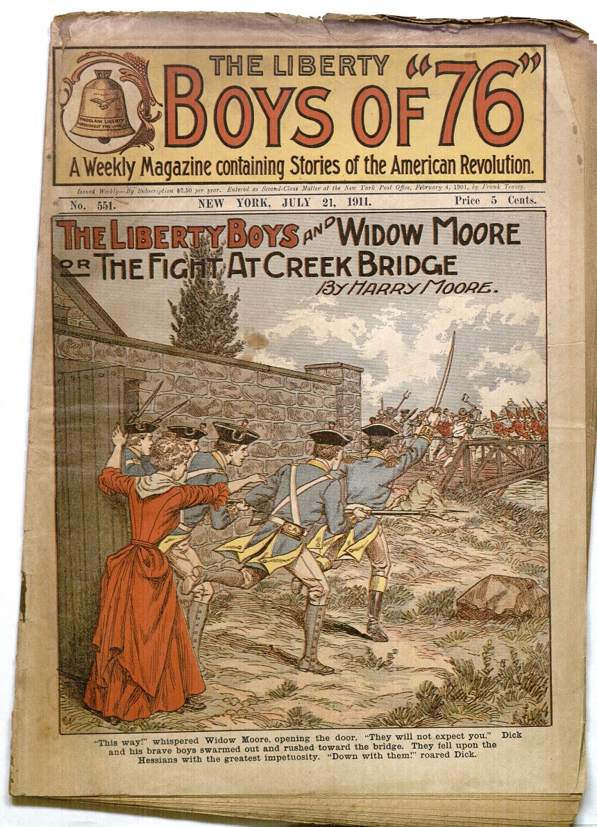 "Cover of Issue of the Liberty Boys featuring the story ""The Liberty Boys and Widow Moore OR the Fight at Creek Bridge"" (July 21, 1911)"