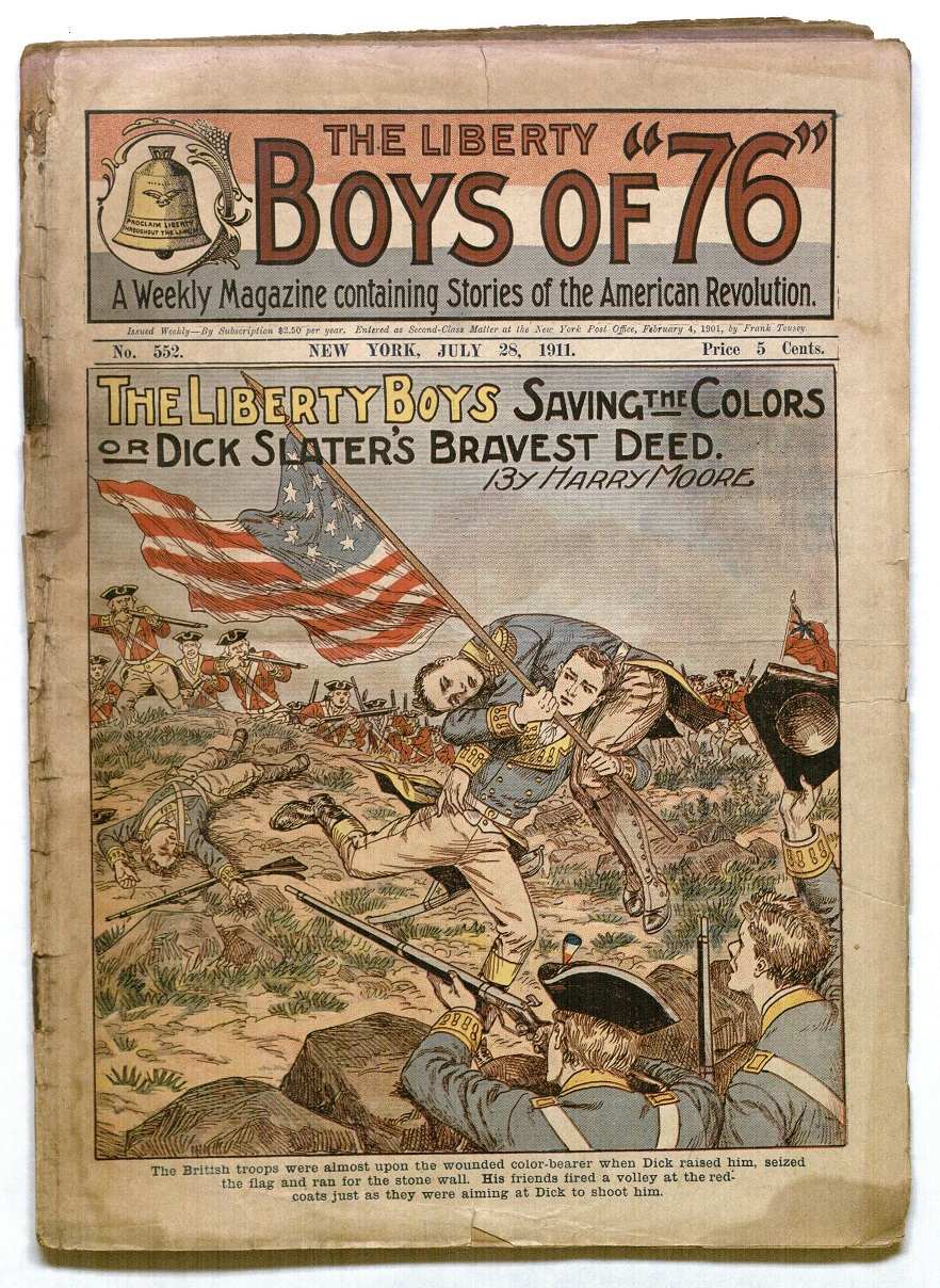 "Cover of Issue of the Liberty Boys featuring the story ""The Liberty Boys Saving the Colors OR Dick Slater's Bravest Deed"" (July 28, 1911)"