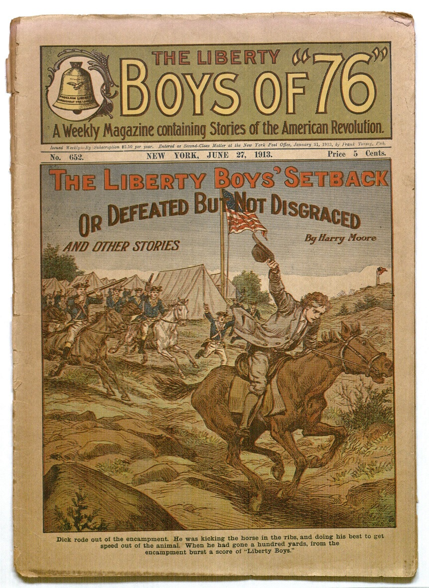 "Cover of Issue of the Liberty Boys featuring the story ""The Liberty Boys' Setback; Or Defeated but not Disgraced"" (June 27, 1913)"