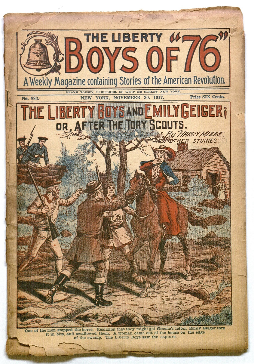 "Cover of the issue of The Liberty Boys containing ""The Liberty Boys and Emily Geiger; or, After the Tory Scouts"" (November 30, 1917)"