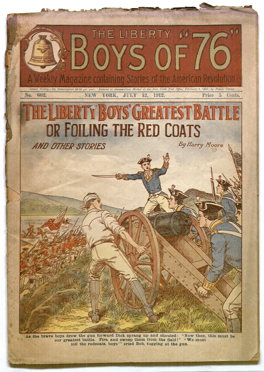 "Cover of Issue of the Liberty Boys featuring the story ""The Liberty Boys' Greatest Battle; Or Foiling the Read Coats"" (July 12, 1912)"