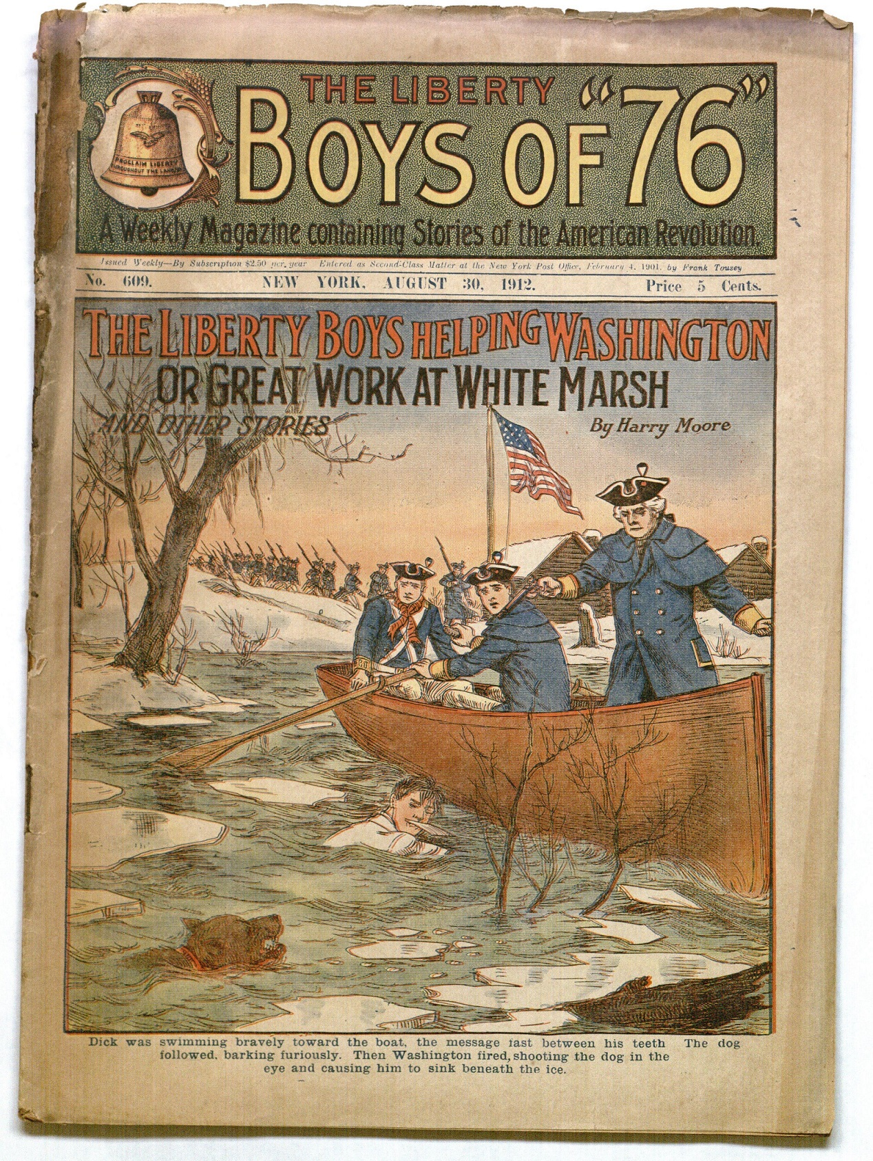 "Cover of the issue of The Liberty Boys of ""76"" treating the Battle of White March (August 30, 1912)"