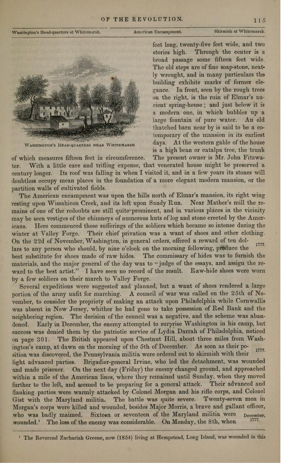 Passage describing the Battle of White Marsh in Lossing's Pictorial Field-Book of the Revolution Vol. 2, p.115