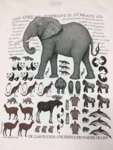 """Image of the T-Shirt Design by D.D. Tyler, """"One African Elephant Is as Heavy as…"""""""