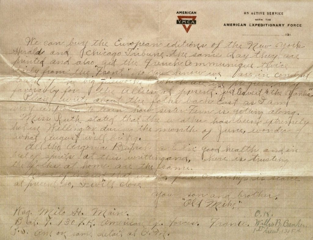 Image of Milo H. Main's letter to his family, July 24, 1918