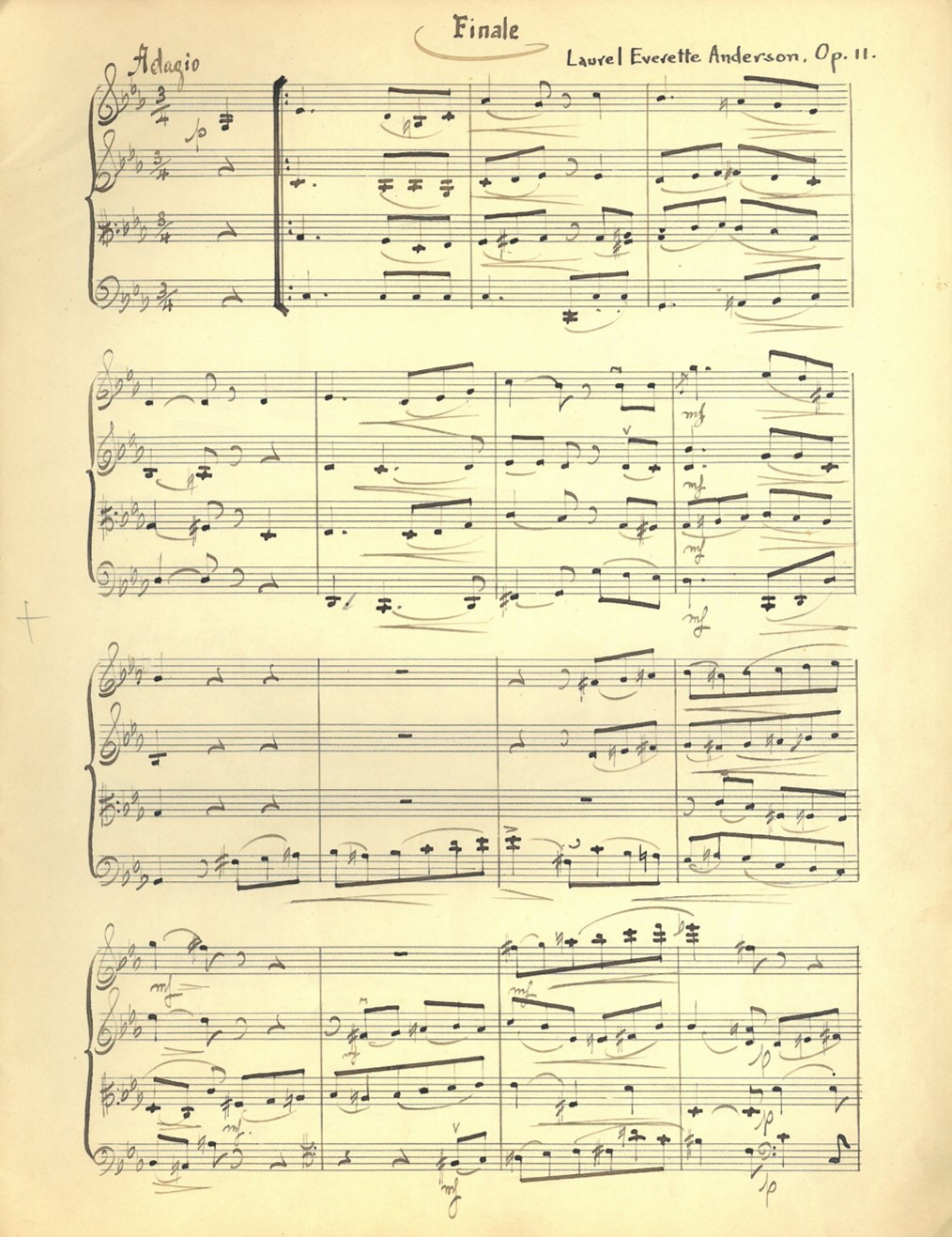 "First page of sheet music from Laurel Everette Anderson's ""Quartet in C Minor for Strings"" (Fourth Movement, Introduction and Allegro)"