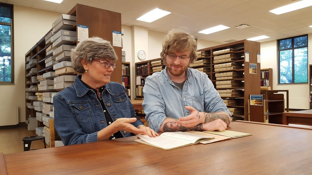 Lynn and Fisher researching in the reading room of the Kenneth Spencer Research Library