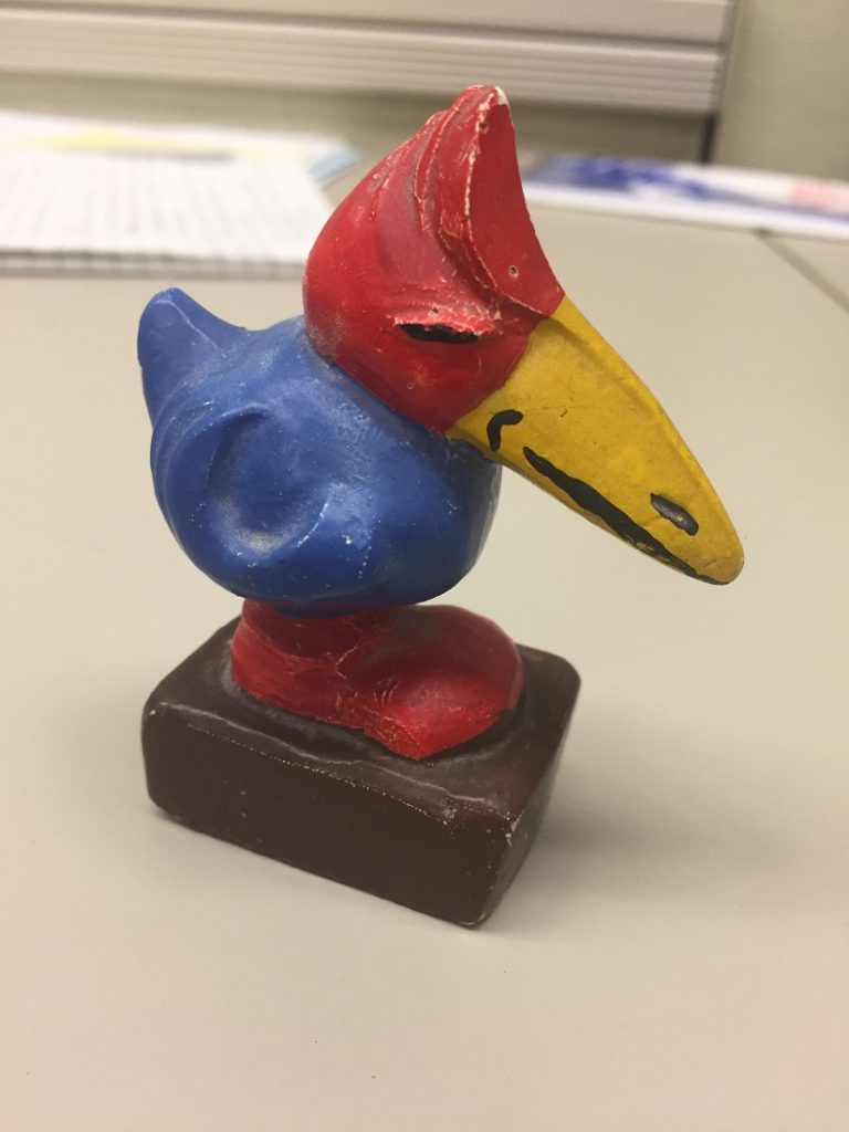 Photograph of a Jayhawk artifact in University Archives