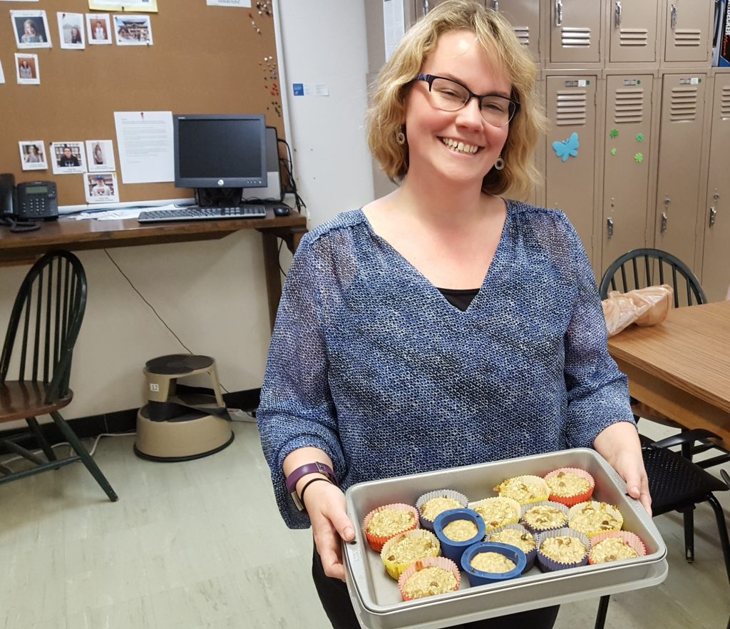 Marcella Huggard with her oatmeal muffins