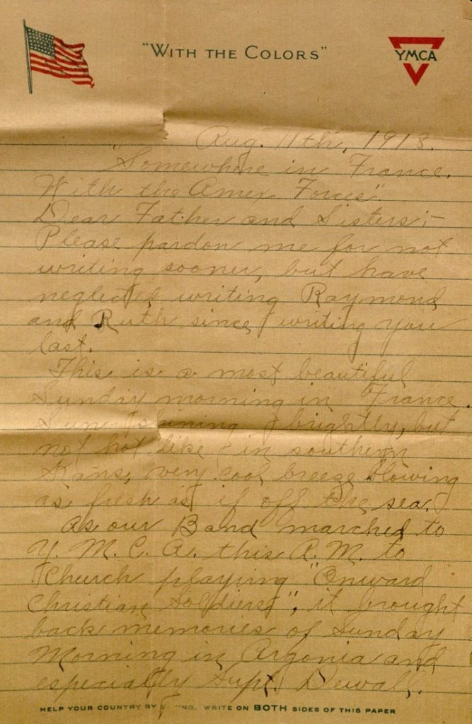 Image of Milo H. Main's letter to his family, August 11, 1918