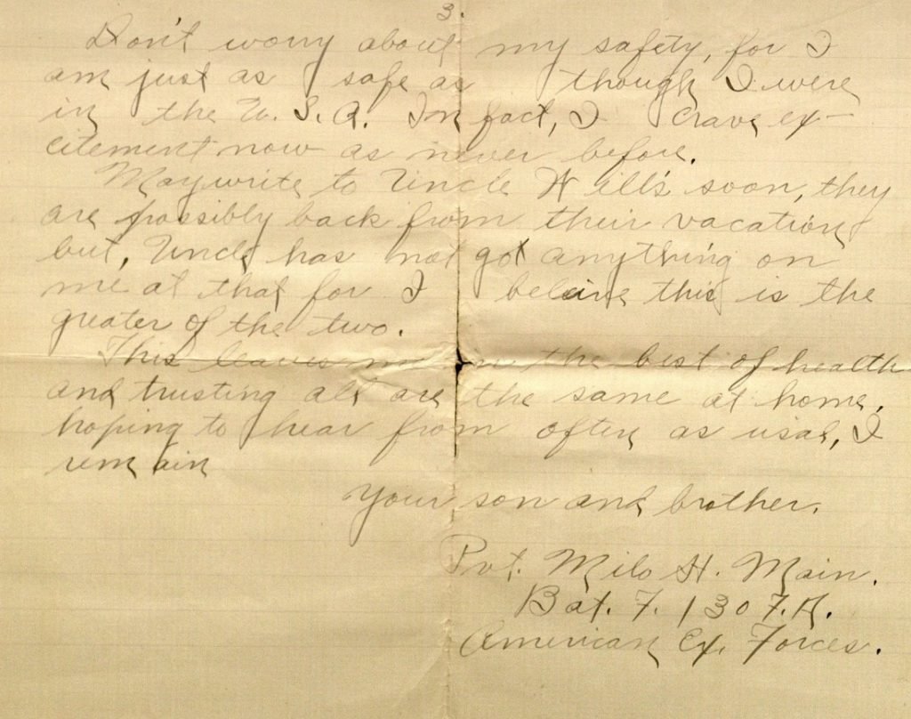 Image of Milo H. Main's letter to his family, August 24, 1918