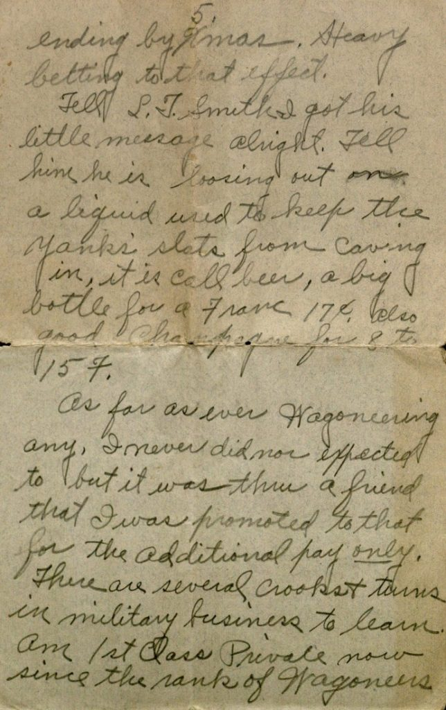 Image of Milo H. Main's letter to his family, September 8, 1918