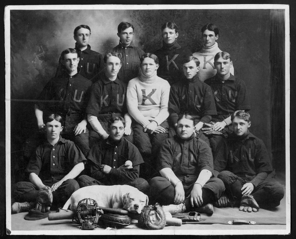 Photograph of the KU baseball team with bulldog mascot, 1903