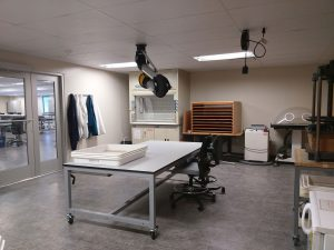 Wet lab within the new conservation lab for paper treatments and preparation of repair materials.