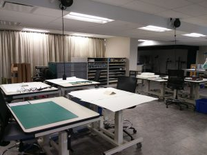 Student work spaces in the new lab.
