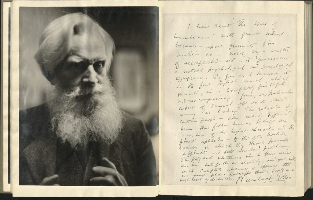 "Manuscript of Havelock Ellis's prefatory ""commentary"" with pasted facing page gelatin print of Havelock Ellis"
