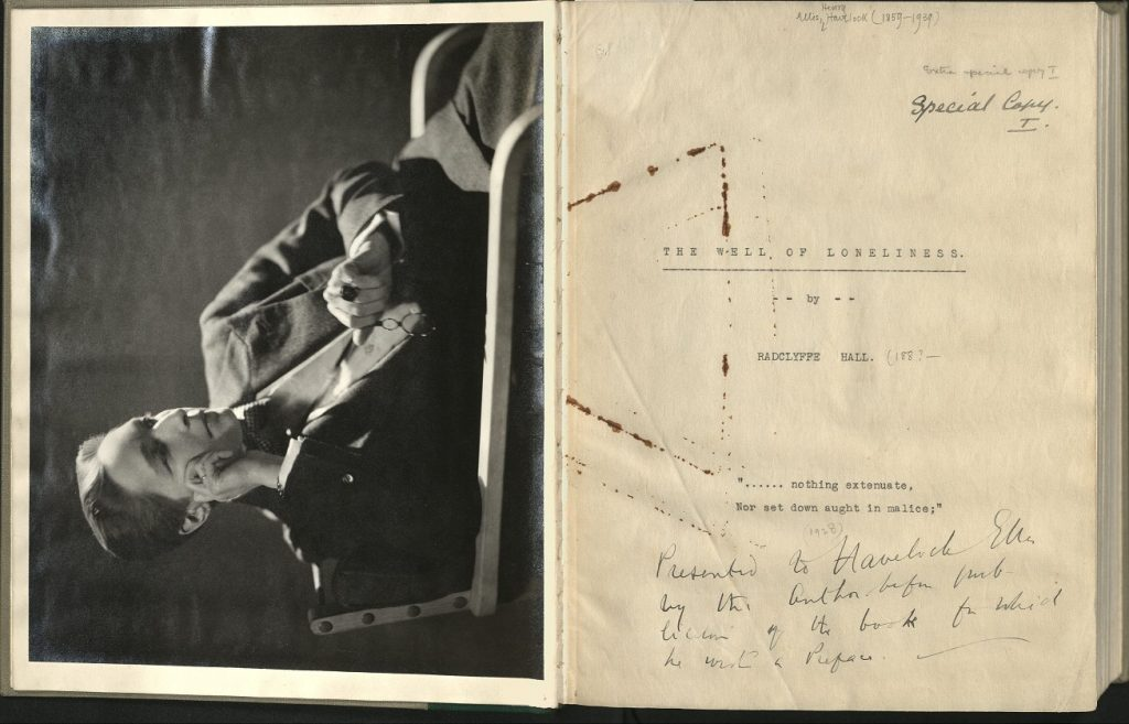 "Well of Loneliness typescript title page marked ""Special Copy I"", with tipped in photographic portrait of Radclyffe Hall"
