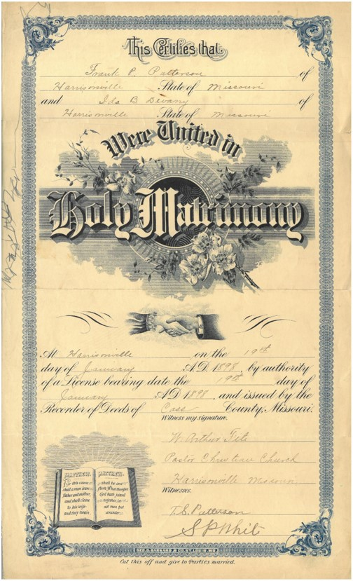 Photograph of a Hungate family marriage certificate
