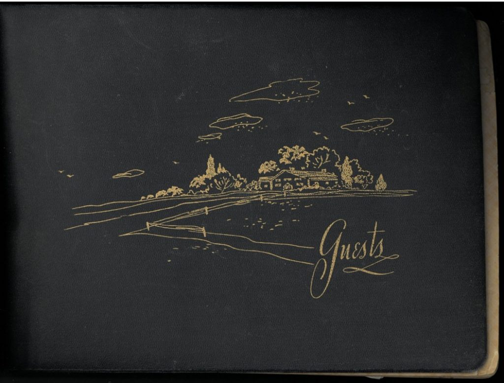 Photograph of the Hungate family papers guestbook