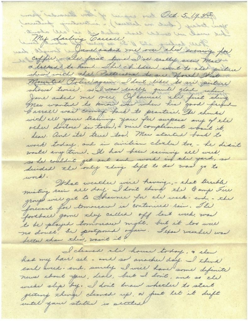 Image of a letter from Mary Agnes Hungate to her husband Carroll, October 5, 1945